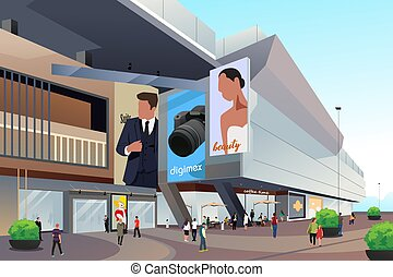 People Outside Shopping Mall Illustration