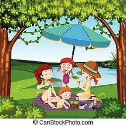 People picnic at the lake