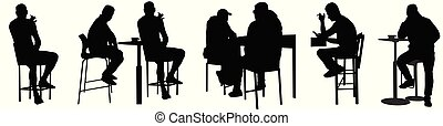 People silhouettes sitting in public bar