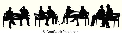 People silhouettes sitting on a bench