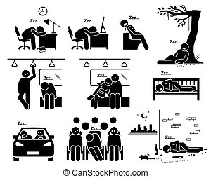 People sleeping at different places stick figure pictogram icons.