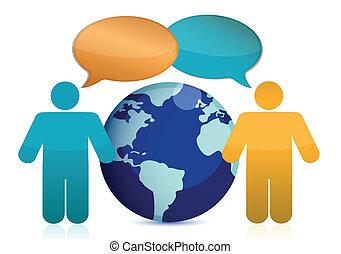 People talking around earth