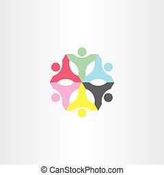 people teamwork color sign logo