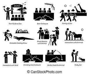 People, Tourist, and Family at Zoo Stick Figure Pictogram Icons.