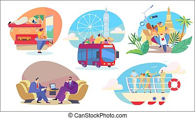 People travel in different transport, sightseeing and business trip, vector illustration