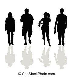 people walking black silhouette