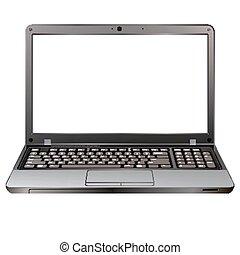 photo realistic laptop isolated on white background