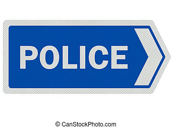 Photo realistic 'police' sign, isolated on white