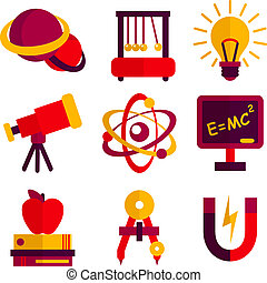 Physics and astronomy scientific laboratory equipment icons set isolated vector illustration.