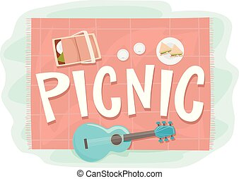 Picnic Elements Lettering Illustration