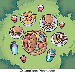 Picnic food in the meadow. Flat cartoon outdoor meal set.
