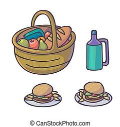 Picnic food set. Flat cartoon outdoor meal.
