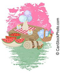 Picnic food. Wooden table with flowers and glasses with drink. Vector cartoon illustration