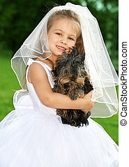 picture of little bridesmaid with cute dog