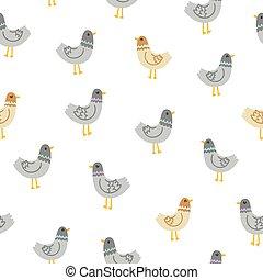 Pigeons seamless pattern