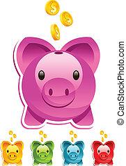 Vector piggy bank with gold dollar coins.