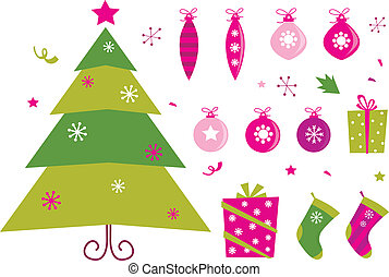 Retro christmas set: pink & green christmas tree, presents and balls. Vector illustration isolated on white background.
