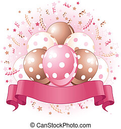 Birthday balloons, confetti & copy space ribbon for Birthday girl.