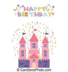 pink castle birthday card