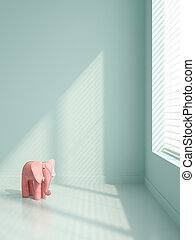 Pink elephants in empty interior 3D illustration