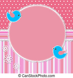 Pink frame with birds and flowers