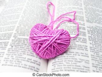 Pink heart knitting wool