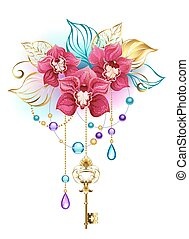 Pink orchid with key
