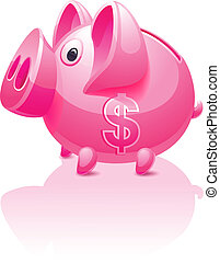 Pink piggy bank with dollar sign, vector