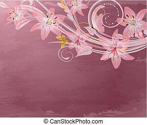 pink retro fantasy flowers
