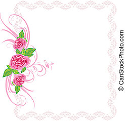 Pink roses with ornament. Frame
