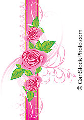Pink roses with ornament