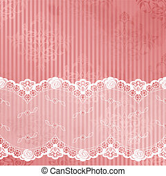 Pink vector with white lace