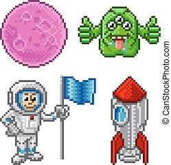 Pixel Art Cartoon Space Set
