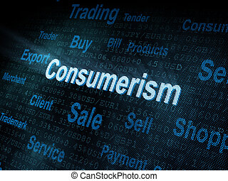 Pixeled word Consumerism on digital screen 3d render