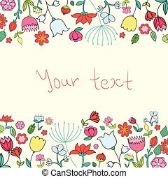 Placeholder card text flowers vector illustration