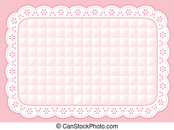 Decorative quilted pastel pink eyelet lace placemat for home decorating, setting table, arts, crafts, scrap books, backgrounds, cake decorating. EPS8 compatible.
