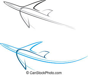 Flying airplane - stylized vector illustration. Grey icon on white background. Isolated design element. Airliner. Can be used as logotype.