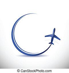 plane travel destination concept illustration design over white