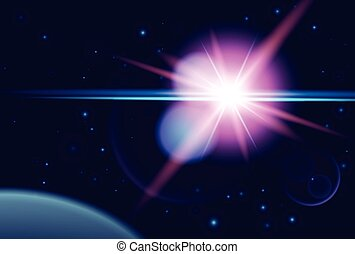 Planet and shine star in dark space. Vector cosmos background