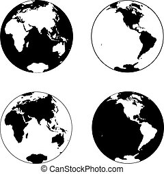 Beautiful black and white icon planet earth