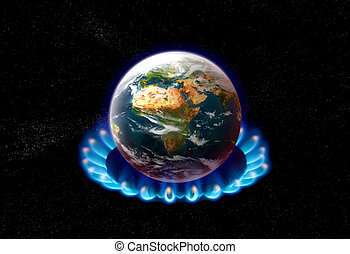 planet earth over heated on flames - global warming concept