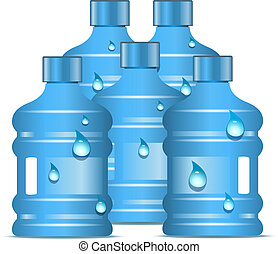 Plastic bottles with clean drinking water