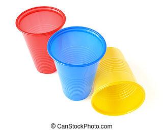 three plastic empty colorful cups