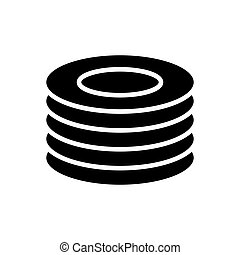 Plates, dishes vector glyph icon