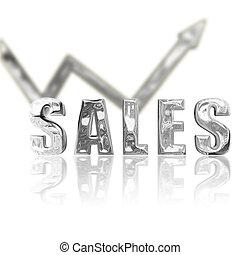 Platinum rendered sales lgraphic depicting success & improvement