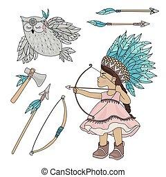 POCAHONTAS OWL American Indian Girl Vector Illustration Set