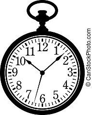 Pocket Watch. Silhouette, black on white. EPS 8, AI, JPEG