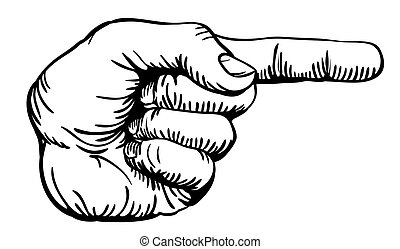 a black and white illustration of a human left hand with the finger pointing or gesturing to the right of the image.