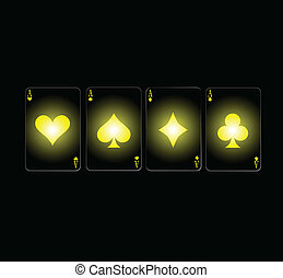 poker aces in yellow card sign