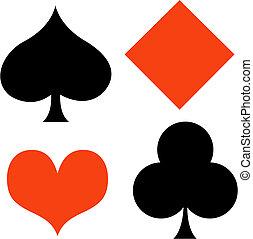 Poker card gaming, gambling suits of spade, diamond, heart and club clip art